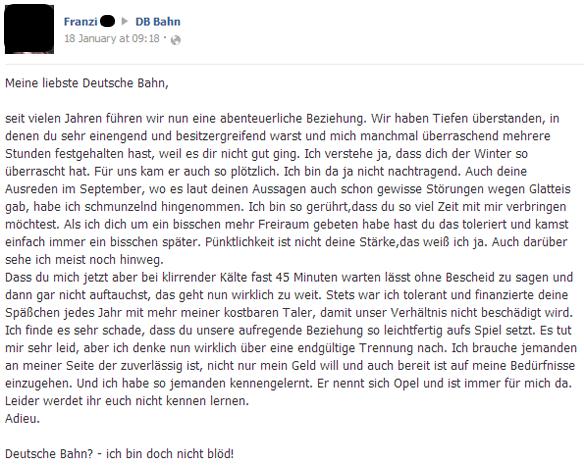 Beschwerde an die Deutsche Bahn